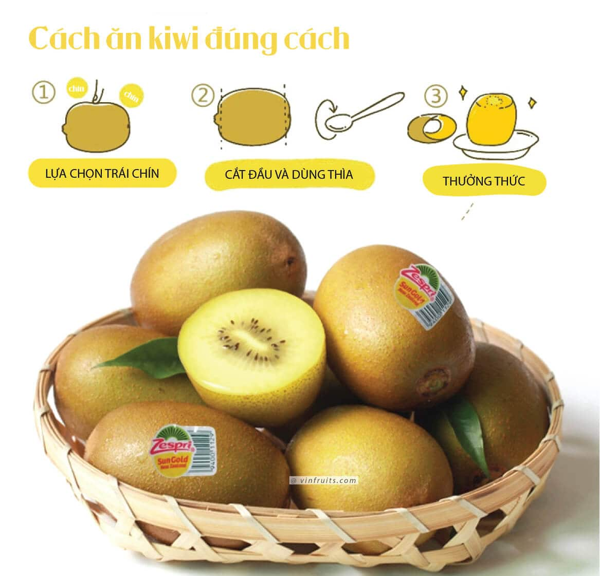 Cach got kiwi vang NZ - vinfruits