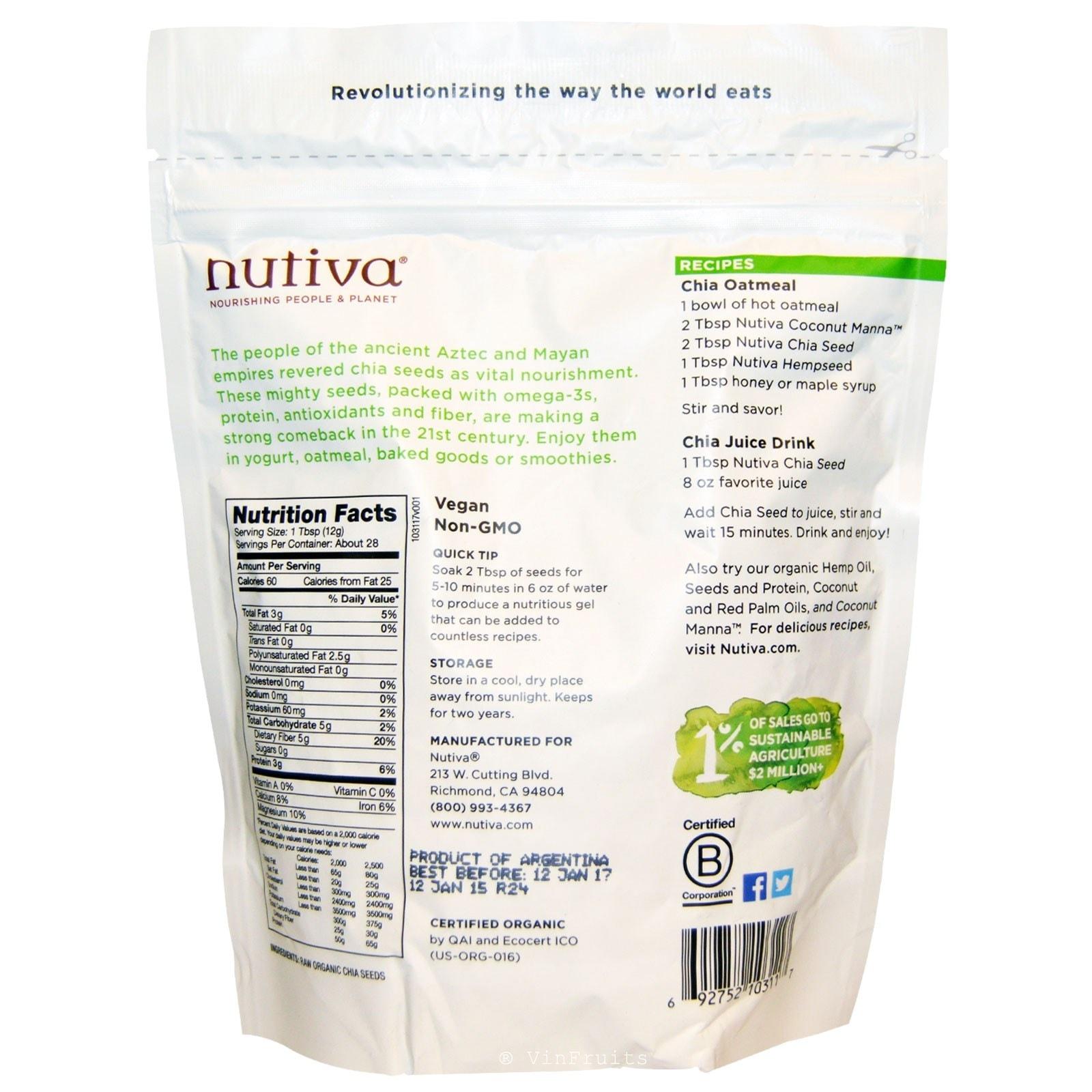 Hạt chia đen Nutiva Mỹ - Vinfruits